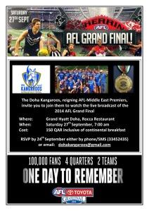 2014 Doha Kangaroos AFL Grand Final Breakfast Flyer