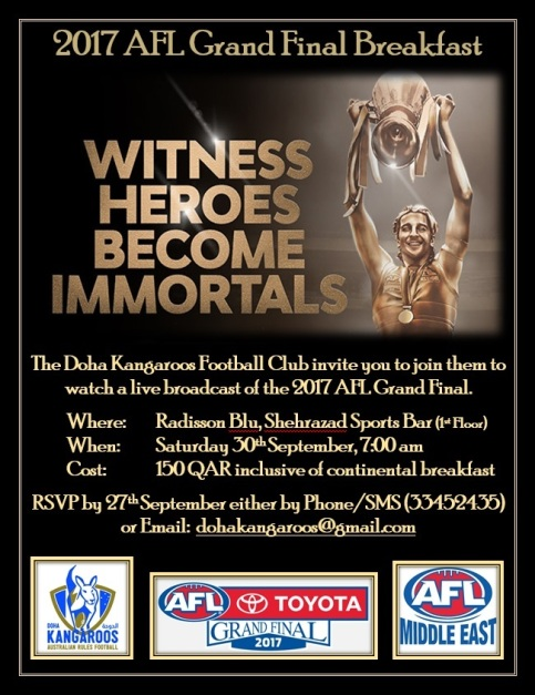 2017 Doha Kangaroos AFL Grand Final Breakfast Flyer